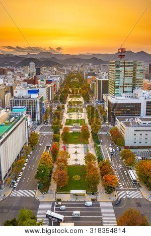 Sapporo, Japan cityscape at dusk over Odori Park during autumn.