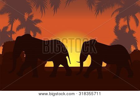 Elephants In African Savanna At Sunset Vector Illustration. Doum Palms, Acacia. Silhouettes Of Anima