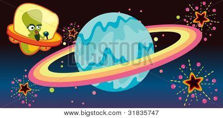 Illustration of alien craft visiting planet