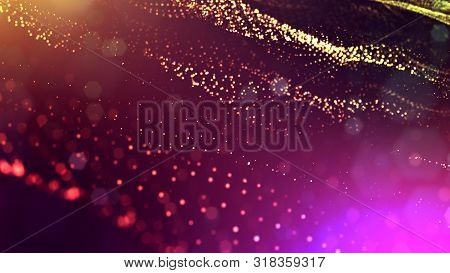 3d Rendering Of Glow Particles That Fly In Air As Science Fiction Of Microcosm Or Macro World Or Sci