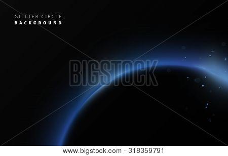 Glitter Blue Neon Circle Ring Frame & Sparkle Flash Light Star Shimmer Vector On Black Background, S