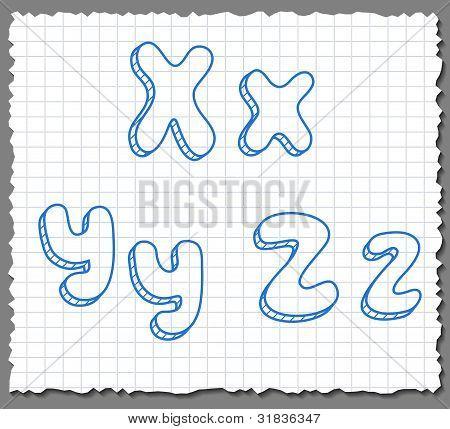 Vector sketch 3d alphabet letters - XYZ
