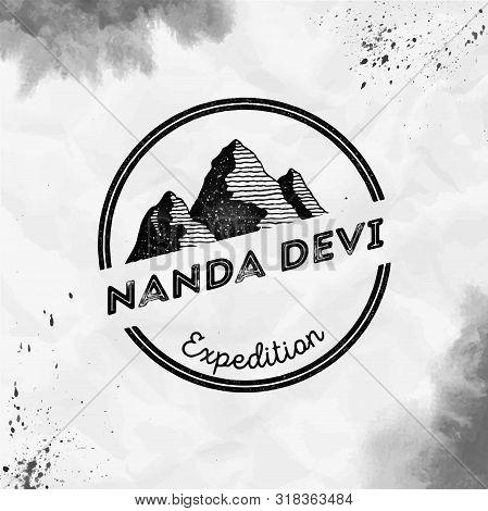 Nanda Devi Logo. Round Expedition Black Vector Insignia. Nanda Devi In Himalayas, India Outdoor Adve