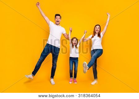 Full Length Body Size View Of Three Nice Attractive Charming Lovely Stylish Cheerful Cheery Ecstatic