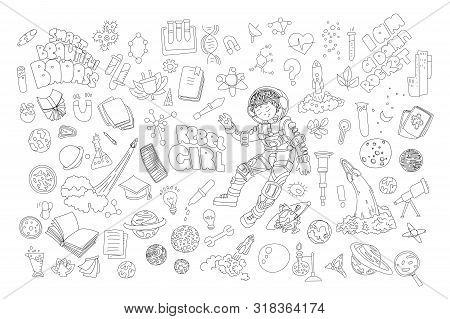 Cute Cartoon Icons On Science, School, Study Theme. Physics, Chemistry, Astronomy And Other Sciences