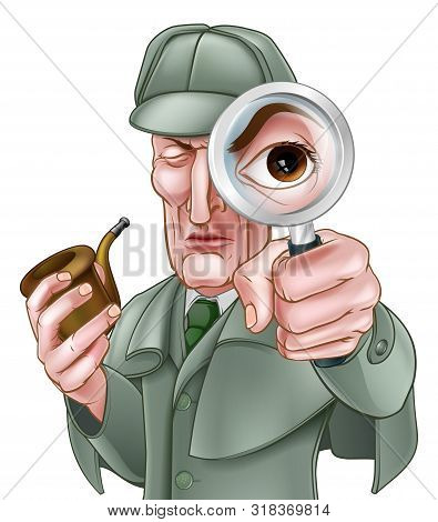 A Sherlock Holmes Style Victorian Detective Cartoon Character Looking Through A Magnifying Glass