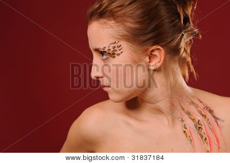 close up beauty woman portrait with body art