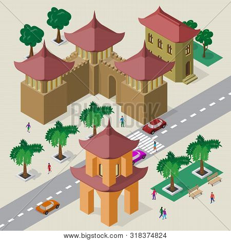 Isometric East Asian Cityscape Of Buildings, Pagoda, Fortress, Roadway, Cars And People.