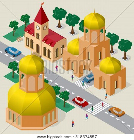 Isometric Cityscape Of Buildings, Temple, Belfry, Roadway, Cars And People.
