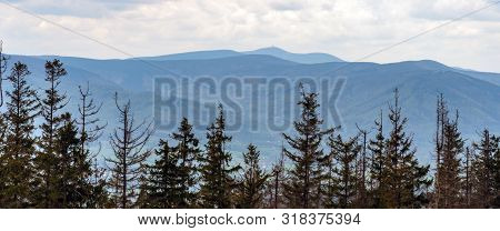 Moravskoslezske Beskydy Mountains With Highest Lysa Hora Hill From Forest Glade Bellow Velka Cantory