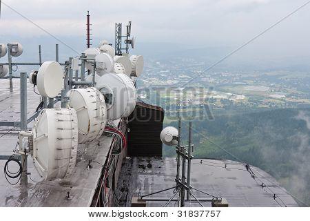 Communication Equipment At Mountain Jested Near Liberec, Czech Republic