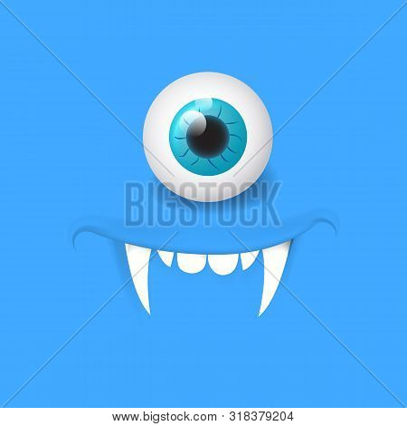 Cartoon Alien Vampire Face. Vector Halloween Monster With One Eye. Design For Print, Decoration, Log