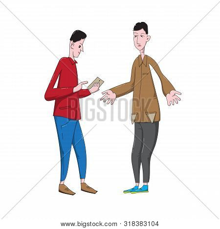 Cartoon Young Men Discuss Financial Issues. Lender Shows Debt On Smartphone And Debtor Turns Out His