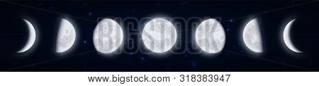 Lunar Phases Icon Set, Moon Phases In The Night Starry Sky, Shape Of The Directly Sunlit Portion Of