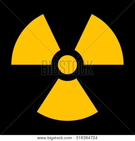 Yellow Radiation Sign Isolated On Dark Background