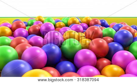 Holiday Childrens Party A Games Room Box Filled With Small Colored Balls 3d Render On White
