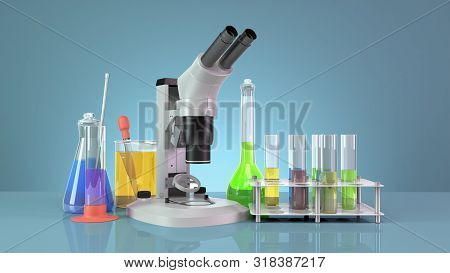 Test Tubes And Flasks With Reagents Stand Next To The Microscope On The Mirror Floor 3d Render On Bl