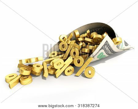 Discount Concept Deposit Income Concept Percent Signs Fall Out From Dollar Bill Paper Envelope 3d Re