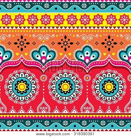 Pakistani Or Indian Truck Art Design, Jingle Trucks Seamless Vector Pattern, Colorful Floral Repetit