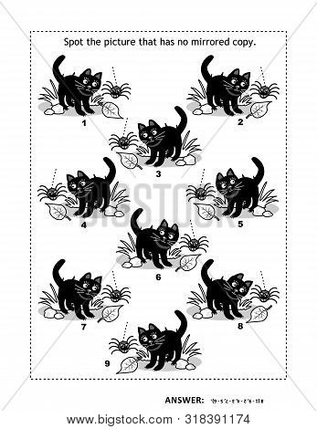 Halloween Or Autumn Themed Visual Puzzle With Black Cats And Spiders. Match The Mirrored Copies. Spo