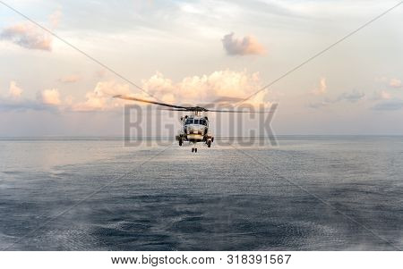 Chonburi, Thailand - April 10, 2019: Sikorsky Mh-60s Seahawk Helicopter Of Royal Thai Navy Flies Or