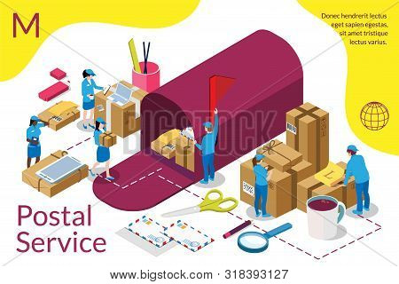 Distribution, Postal Service Infographic. International Delivery. Home Delivery Service And Working