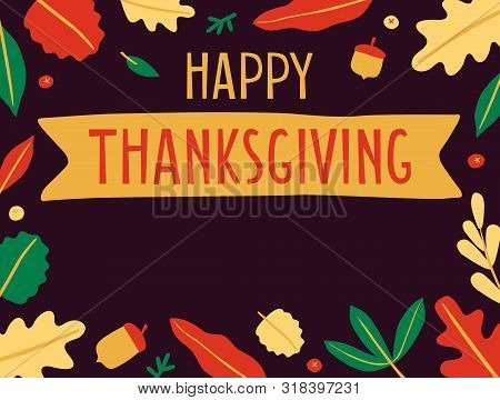 Hand Drawn Happy Thanksgiving Day Banner With Copy Space. Autumn Greeting Card. Fall Colorful Leaves
