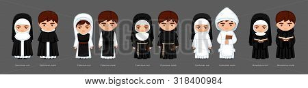 Catholic Monks And Nuns. Carthusians, Franciscans, Cistercians, Benedictines, Dominicans. Big Set Of