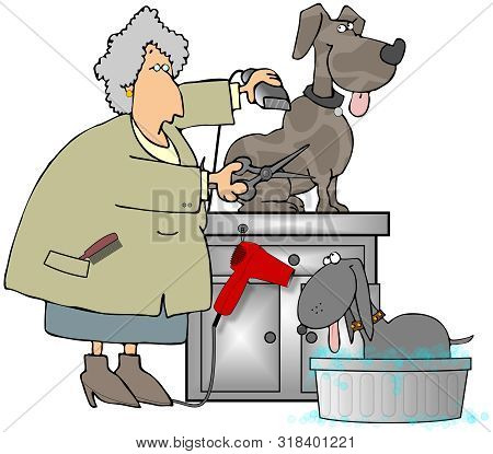 Illustration Of A Woman Wearing A Smock Grooming A Dog With Another Soaking In A Bubble Bath.