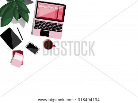 Online Press Release. Desktop In Flat Style Top View. Online News, Digital Media, Advertising. Socia