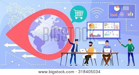 Online Worldwide Trading Business And Data Analysis. Cartoon Businessmen Working On Laptop, Discussi