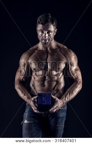 Strong Muscles Emphasize Masculinity Sexuality. Secret Present For Valentines Day. Testosterone. Lov