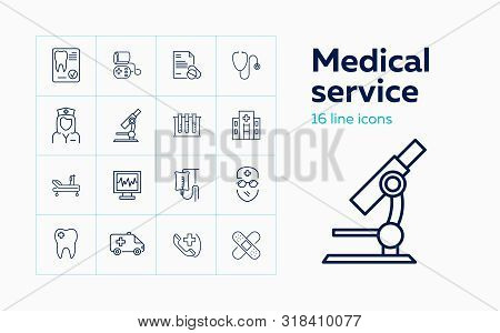 Medical Service Line Icon Set. Hospital, Microscope, Doctor, Cardiogram. Medicine Concept. Can Be Us