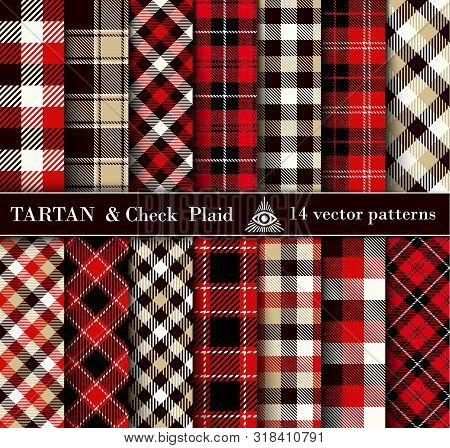 Set Tartan Check  Plaid  Seamless Patterns Backgrounds
