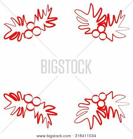 Sign Of Christmas Brunch Of Mistletoe With Berries. Vector Illustration. Icon With Red Lines With Di