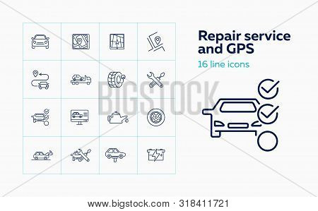 Repair Service And Gps Line Icon Set. Set Of Line Icons On White Background.auto Concept.program, It