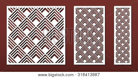 Laser Cut Panels With Abstract Geometric Pattern In Japanese Style, Vector Set. Template Or Stencil