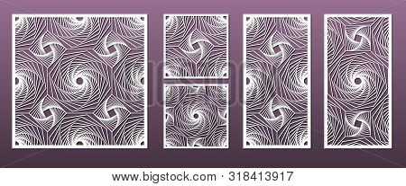 Laser Cut Panels With Geometric Pattern In Arabic Islamic Design Style, Vector Set. Template Or Sten