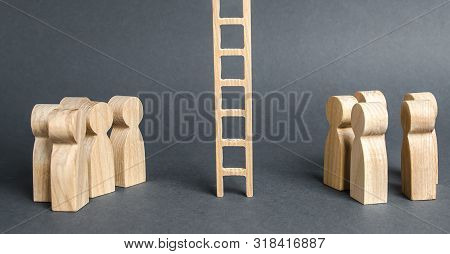 Two Groups Of People Are Separated By A Career Ladder. Promotion And Career Advancement. Transition
