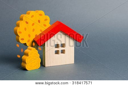 Wooden House And Yellow Autumn Fall Trees. Environmentally Friendly Home. Modern Technology In Const