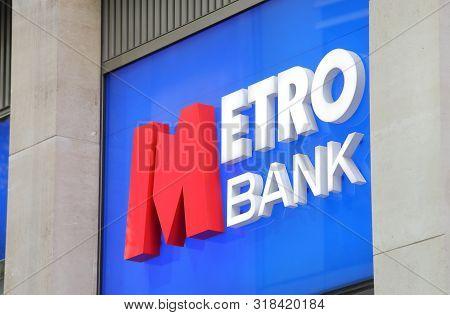 London England - June 2, 2019: Metro Bank Uk Company Logo.