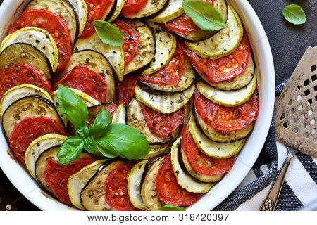 Ratatouille - A Traditional Vegetable Dish Of French Cuisine. Ratatouille Dish Of Eggplant, Zucchini