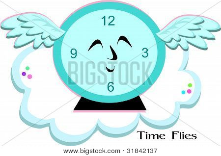 Time Flies Blue Clock