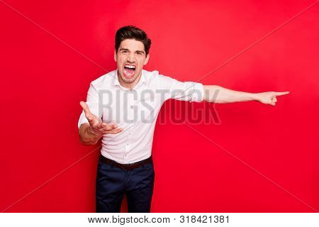 Portrait of his he nice attractive enraged savage evil gloomy grumpy sullen guy showing go way fiasco scolding argument isolated over bright vivid shine red background poster