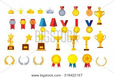 Trophies And Awards Vector Illustrations Set. Golden Medals, Cups, Crowns, Laurel Wreaths And Prizes