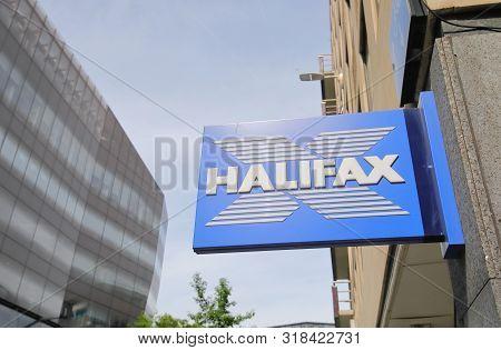 London England - June 2, 2019: Halifax Bank Uk Company Sign