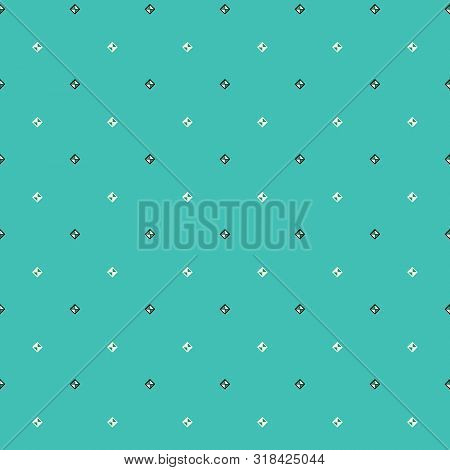 Geometric Illustration In Cream, Blue And Aqua. Vector Illustration With Rectangles And Studs.