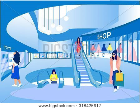 Women With Bags In Hand Shopping At Big Mall. Compositions Exhibition Center. Visit Exhibition. Wome