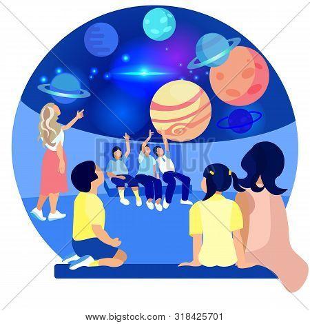 Children In Planetarium Study Planet. Space Exhibition. Compositions Exhibition Center. Visit Exhibi