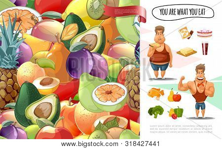 Cartoon Diet Concept With Fruits And Vegetables Seamless Pattern Fat Man Eating Unhealthy Food And M